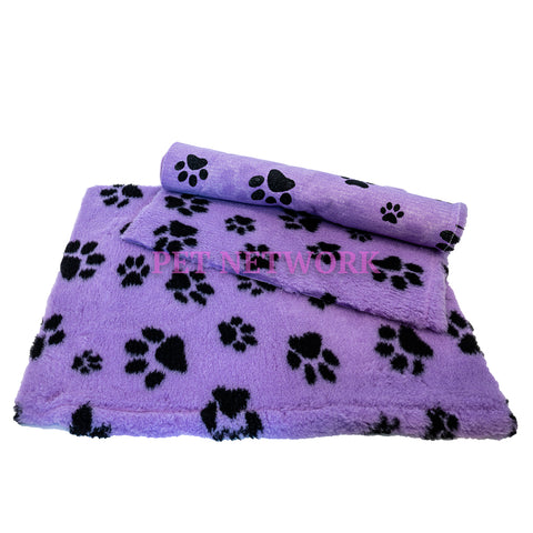** NO BACKING ** VET BED - LILAC WITH BLACK DESIGNER PAWS