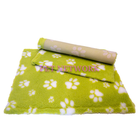 VET BED - RUBBER BACKED - LIME WITH WHITE DESIGNER PAWS
