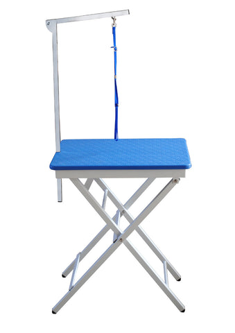BLUE PLASTIC TOP PORTABLE SHOW TABLE WITH ARM