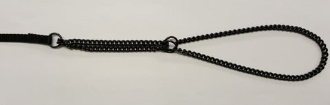 "ENGLISH BLACK CHAIN MARTINGALE WITH FLAT NYLON LEAD - 10"" NECK"