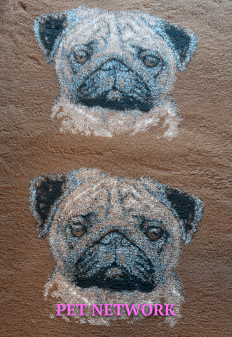 VET BED - RUBBER BACKED - PUG DESIGN - BROWN - 75cm x 100cm APPROX.