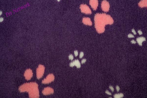 ** NO BACKING ** VET BED - PURPLE WITH LARGE PINK PAWS