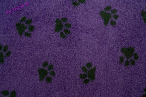 VET BED - GREEN BACKED - PURPLE WITH BLACK PAWS