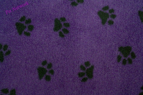 VET BED - RUBBER BACKED - PURPLE WITH SMALL BLACK PAWS