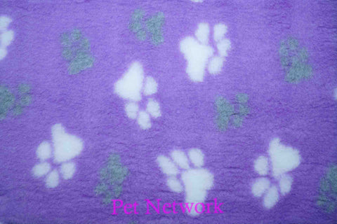 VET BED - GREEN BACKED - PURPLE WITH GREY AND WHITE PAWS