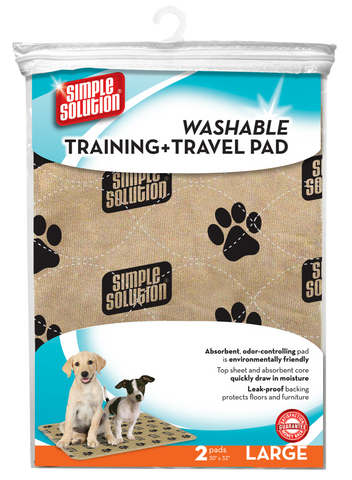 SIMPLE SOLUTION WASHABLE TRAINING AND TRAVEL PUPPY PEE PAD (pack of 2) - LARGE