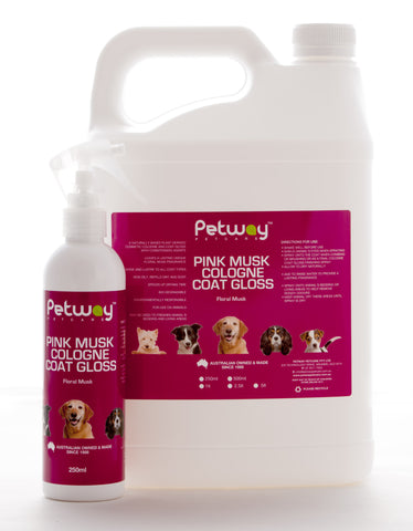 PETWAY PETCARE PINK MUSK COLOGNE COAT GLOSS - ASSORTED SIZES AVAILABLE (WH)