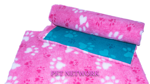 VET BED - GREEN BACKED - PINK WITH WHITE PAWS AND CERISE PAWS