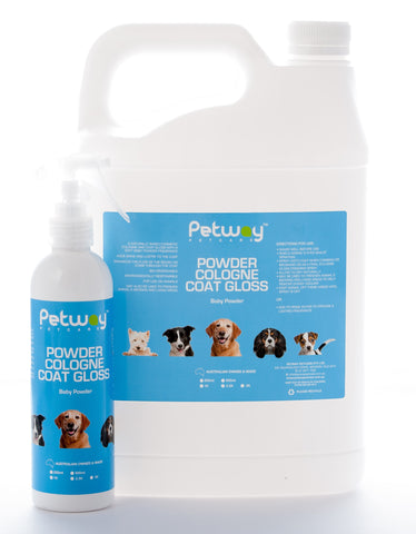 PETWAY PETCARE BABY POWDER COLOGNE COAT GLOSS - ASSORTED SIZES AVAILABLE (WH)