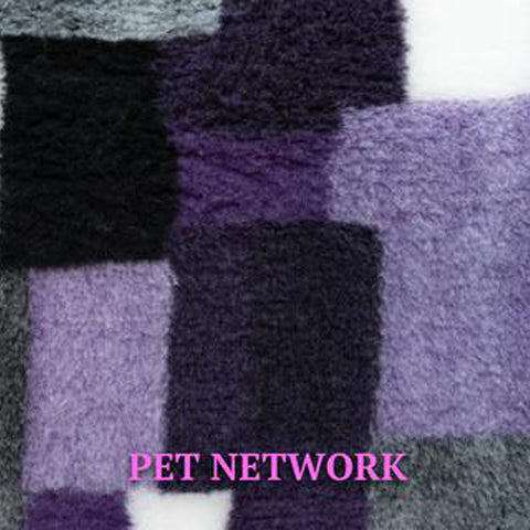 VET BED - RUBBER BACKED - WHITE, PURPLE AND BLACK RECTANGLES
