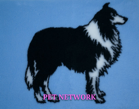VET BED - RUBBER BACKED - ROUGH COLLIE DESIGN - approx. 100cm x 75cm