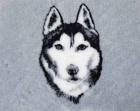 VET BED - RUBBER BACKED - SIBERIAN HUSKY DESIGN - APPROX. 100cm x 75cm