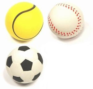 3 PACK BOUNCING SPONGE BALLS - 6CM -  SOCCER, TENNIS & BASE BALL