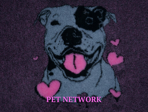 VET BED - RUBBER BACKED - STAFFORDSHIRE BULL TERRIER (STAFFIE) WITH HEART DESIGN - approx. 100cm x 75cm
