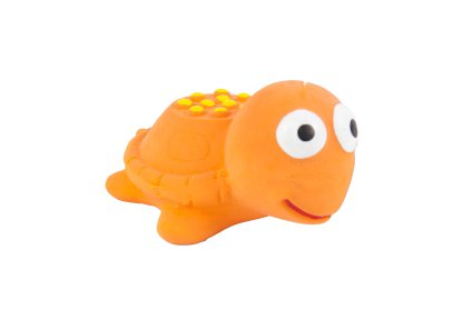 SMALL SQUEAKY ORANGE LATEX TURTLE 5.5cm