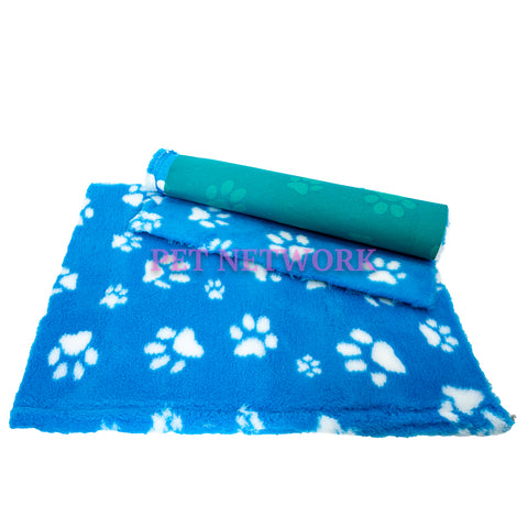 VET BED - GREEN BACKED - TEAL WITH WHITE DESIGNER PAWS