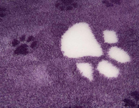 VET BED - RUBBER BACKED - PURPLE (REGAL) WITH LARGE WHITE PAWS