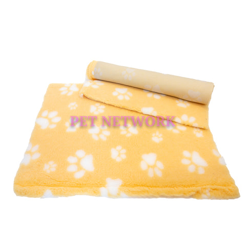 VET BED - RUBBER BACKED - YELLOW WITH WHITE DESIGNER PAWS