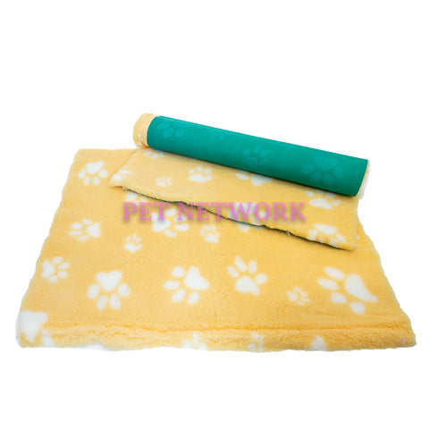 VET BED - GREEN BACKED - YELLOW WITH WHITE DESIGNER PAWS