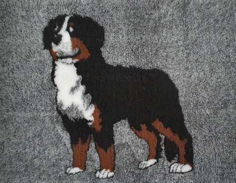 VET BED - RUBBER BACKED - BERNESE MOUNTAIN DOG - APPROX. 75cm x 110cm