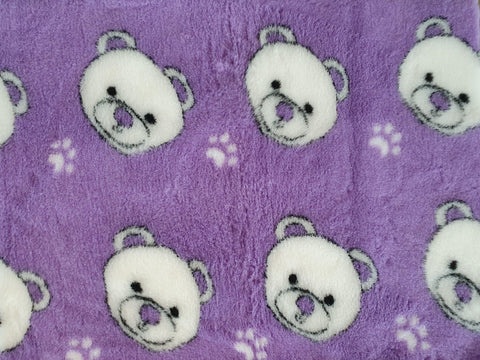 VET BED - RUBBER BACKED - CUTE TEDDY BEAR FACE (LILAC)