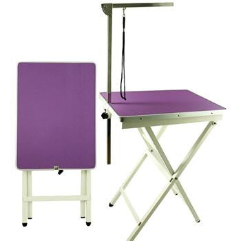 PURPLE SHOW TABLE WITH ARM (60CM X 45CM X 80 -87CM)