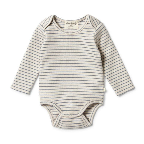Body Suit Organic stripe Rib Denim Blue