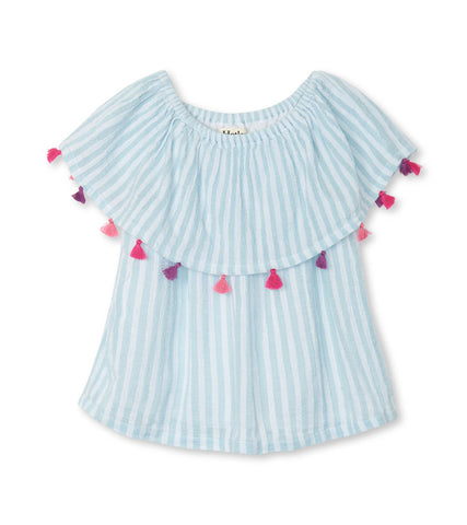 Stripe  Shoulder Flounce top