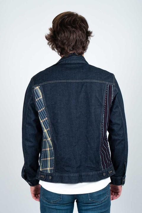 Denim Jacket with Yukata Cotton Patches - Back View
