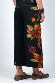 Four-Panel Trousers with Vintage Silk Kimono Textile - Back View