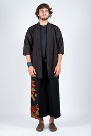 Four-Panel Trousers with Vintage Silk Kimono Textile