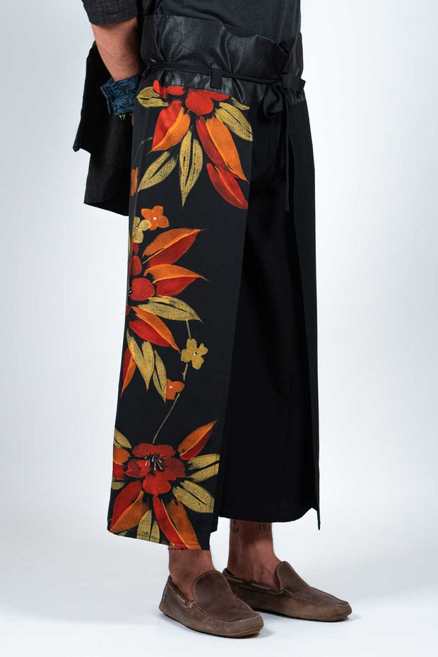 Four-Panel Trousers with Vintage Silk Kimono Textile - Side View