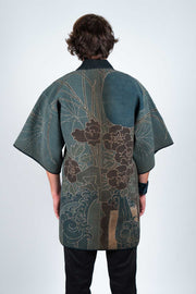 Japanese Meiji Fireman Sashiko Stitching Jacket - Back View
