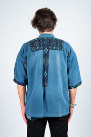 Japanese Original Indigo Blue Jacket with Patchwork - Back View