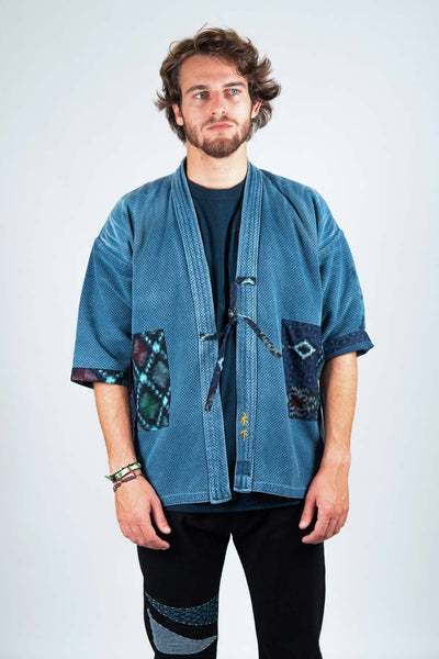 Japanese Original Indigo Blue Jacket with Patchwork