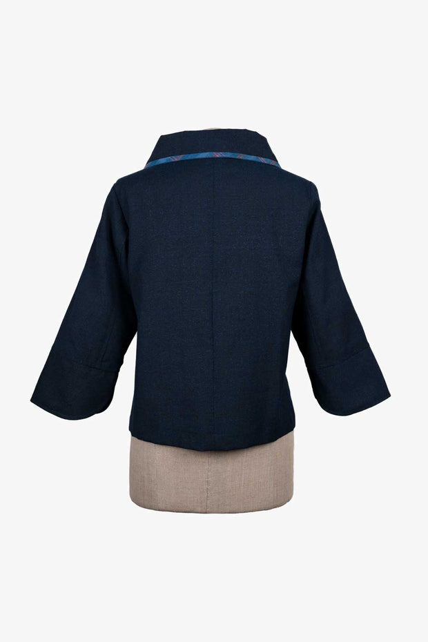 Light Wool Jacket with Unique Collar and Sleeve Ends - Back View