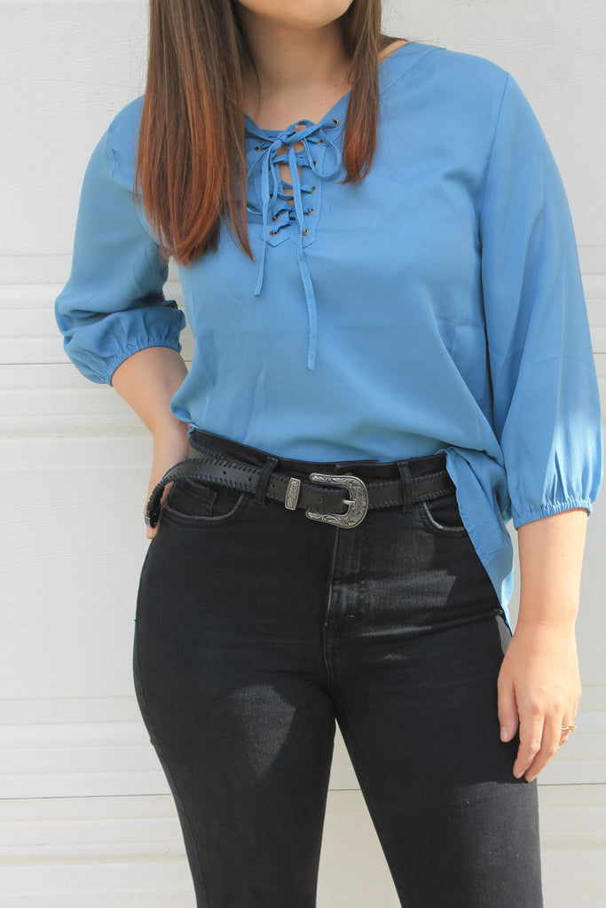 Clean Slate Lace Up Blouse