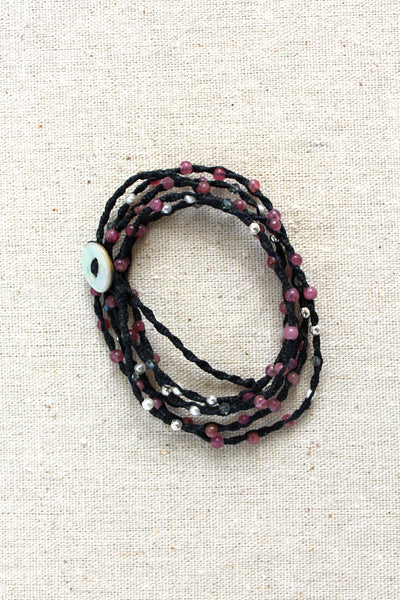Tied to the Sea Pink Tourmaline Wrap Bracelet