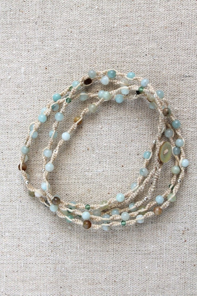 Tied to the Sea Sky Blue Wrap Bracelet