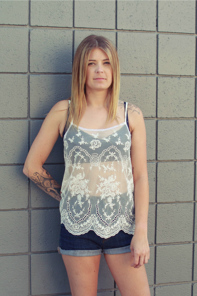 La Belle Embroidered Lace Tank