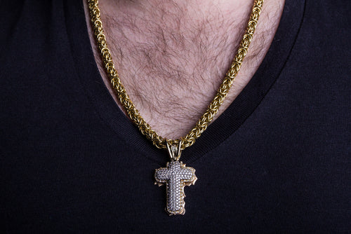 cross diamonds on gold chain