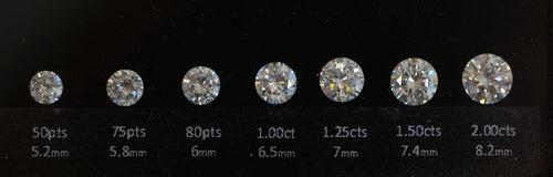 variety of diamond sizes