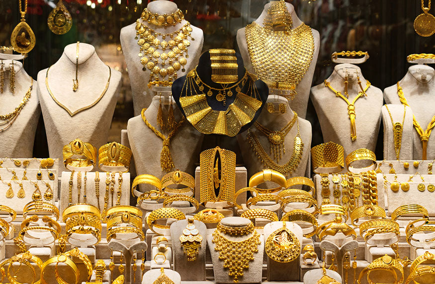 gold jewelry displayed in store