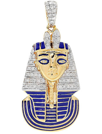 gold and diamond pharaoh bust pendant