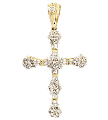 gold cross pendant with diamonds