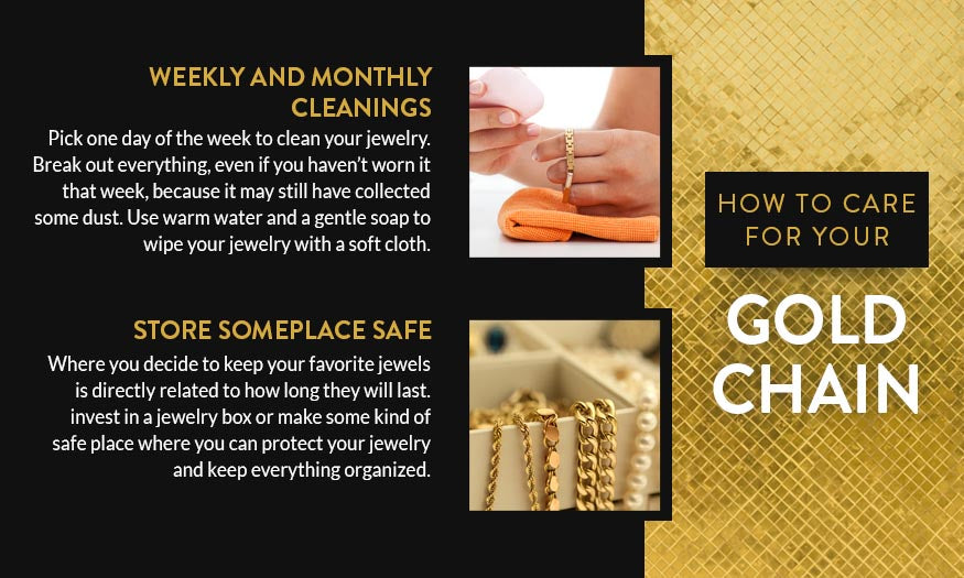 how to care for your gold chain graphic