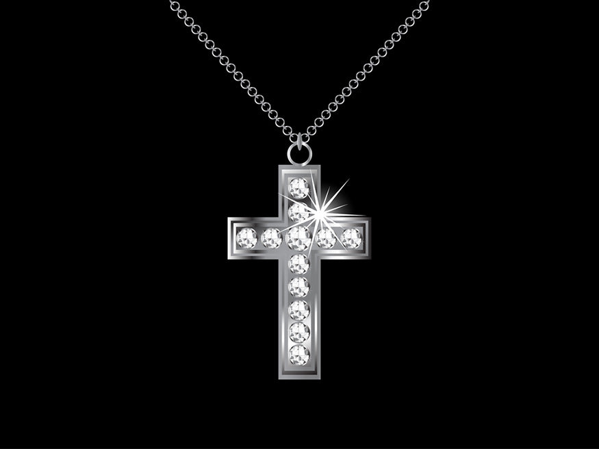 necklace with diamond cross