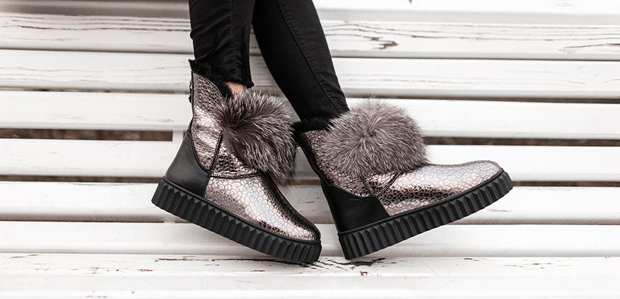 stylish silver boots with fur