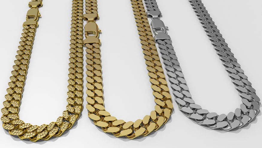 trio of cuban link chains