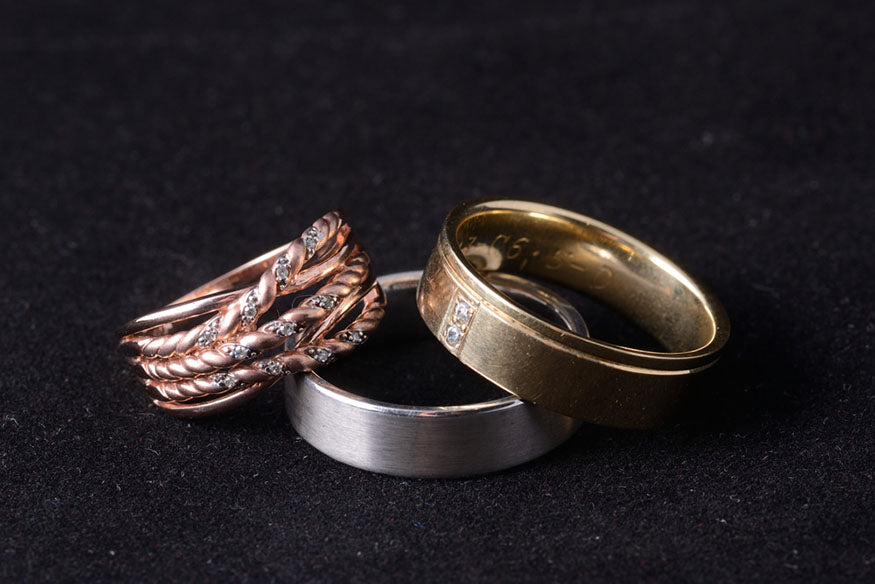 trio of gold rings